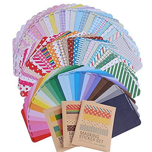 (Pack 81 hojas) Etiquetas Adhesivas Pegatina Papel Scrapbooking Engomada Decoración Sticker Masking Tape Calendario Album de Recortes Diario Fotos Redondas Tiras Rectas (10 x 6,5cm cada hoja)