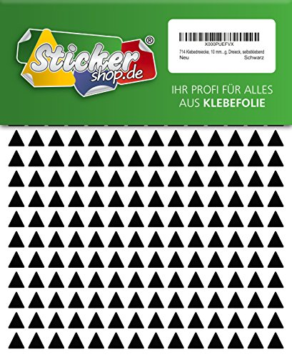 714 Aufkleber, Dreieck, Sticker, 10 mm, schwarz, PVC, Folie, Vinyl, glänzend, Klebemarkierung, selbstklebend