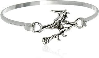 PammyJ Silvertone Witch on A Broomstick Bangle Hook Bracelet