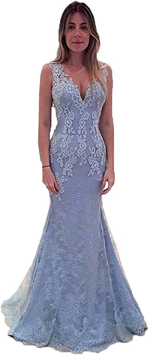 CIRCLEWLD Illusion Back V Neck Lace Mermaid Evening Dresses Long Womens Prom Gown E147
