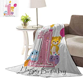 williamsdecor Throw Blanket by King & Fifth, Princess Girl Party Pattern Design Blanket Camping Blanket, Picnic Blanket, or Large Beach Blanket Measuring, 50x60 Inch