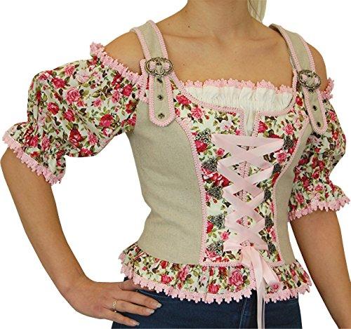 Stützle Country Lady Landhaus Carmen Trachten Mieder Tammy Leinen, Größen:42;Farben:geige - rosé