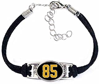 Number Charm Bracelet (00-99) Jersey Style in Team Colors (Black & Gold)