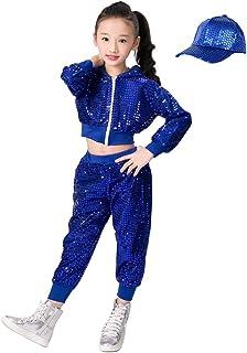 Xiedeai Danza Abbigliamento Bambine e Ragazze Abiti Bambini Adulto Jazz Hip Hop Moderno Costumi Prestazione Crop Top Pantaloni