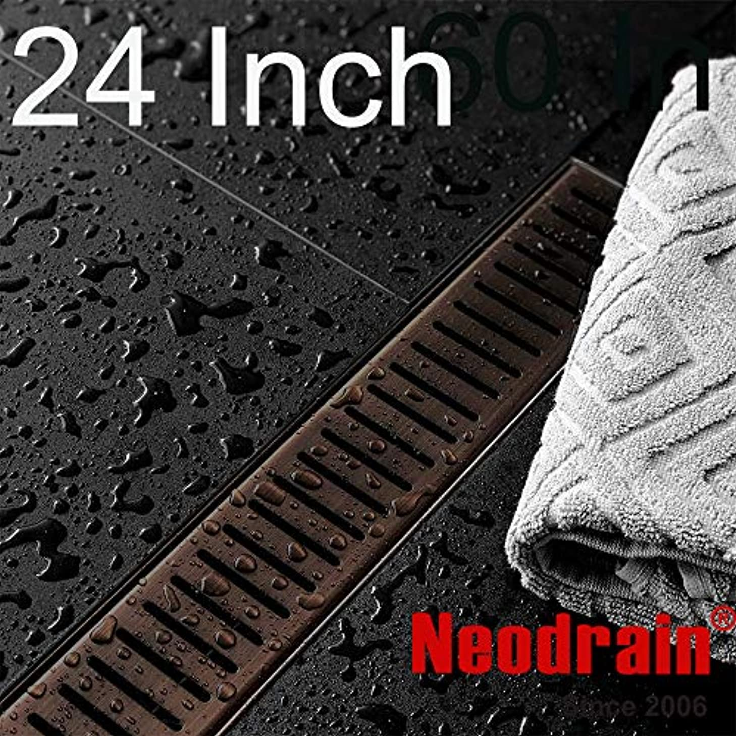 Neodrain 24-Inch Linear Shower Drain with Removable Capsule Pattern Grate, Antique Copper color, Oil Rubbed Bronze finish, 304 Stainless Steel Shower Floor Drain, With Leveling Feet, Hair Strainer