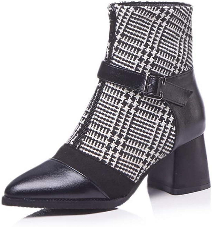 AdeeSu Womens Chunky Heels Pointed-Toe Metal Buckles Urethane Boots SXC03079