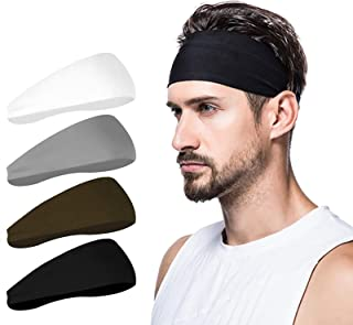 Mens Headband (4 Pack), Mens Sweatband & Sports Headband for Running, Cycling, Yoga, Basketball - Stretchy Moisture Wicking Unisex Hairband