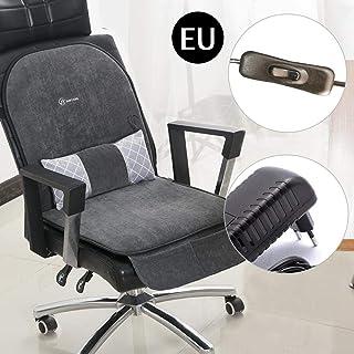 Cojín calefactor 3 en 1 con respaldo para silla de oficina, cojín de masaje reclinable con bolsa de almacenamiento para el hogar y la oficina gris oscuro