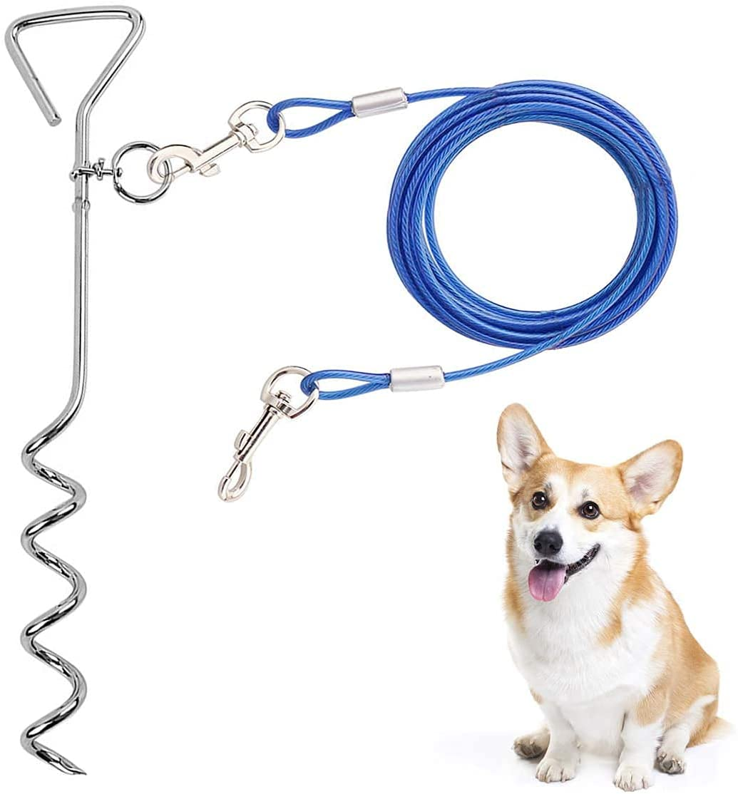 CLKHOWL Dog Shipping included Stake Tie Out Boston Mall Cable - 16 Reflective Rust St Anti 30