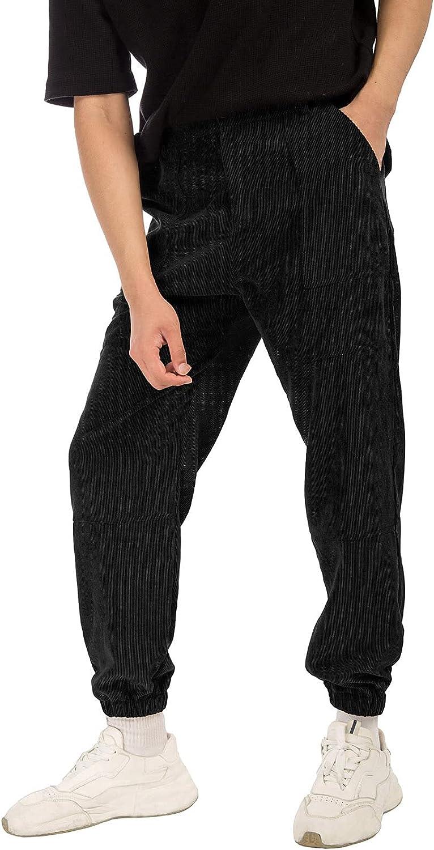 GRACE KARIN Men's Casual Pants Corduroy Stretch Elastic Waist Jogger Pants