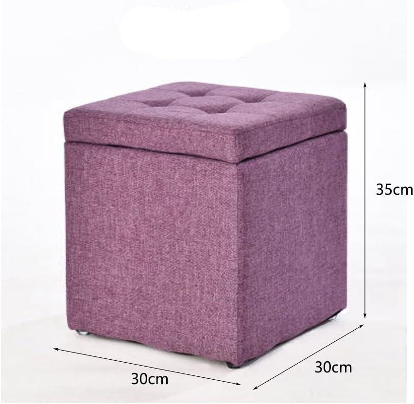 WLL- Tabouret en tissu Creative pour Chaussures Tabouret Tabouret Table Basse Petite Mode (30x30x35cm) (Color : Orange) Purple