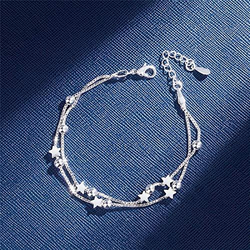 Doble capas estrellas abalorios pulseras para mujeres elegante caja cadena encanto brazalete de cumpleaños regalo de fiesta (Gem Color : Silver star)
