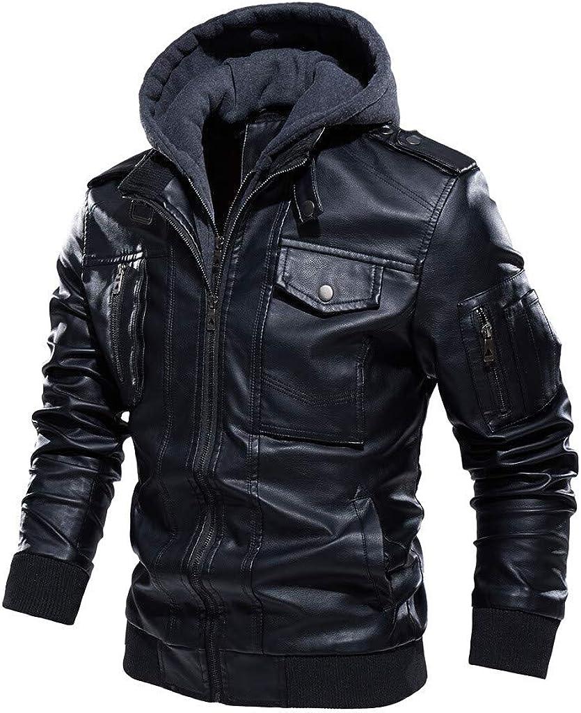 OPAKY Chaqueta de piel sintética con capucha desmontable, cortavientos y cálido, para otoño anorak, informal, multibolsillos, vintage, para hombre