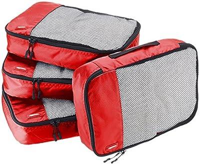 Amazon Basics 4 Piece Packing Travel Organizer Cubes Set - Medium, Red by Amazon Basics