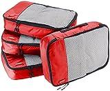 Amazon Basics - Bolsas de equipaje medianas (4 unidades), Rojo