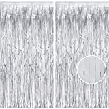 Greatril 2 Pack 3.2 ft x 8.2 ft Metallic Tinsel Foil Fringe Curtains Photo Booth Props for Birthday Wedding Engagement Bridal Shower Baby Shower Bachelorette Holiday Celebration Party Decorations
