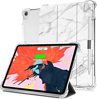 valkit iPad Pro 12.9 Case 2018, iPad Pro 12.9 Inch 3rd Generation Cover, Folio Stand Case for iPad Pro 12.9 Inch 2018 with Auto Sleep/Wake & Pencil Holder,Support Wireless Charging, White Marble