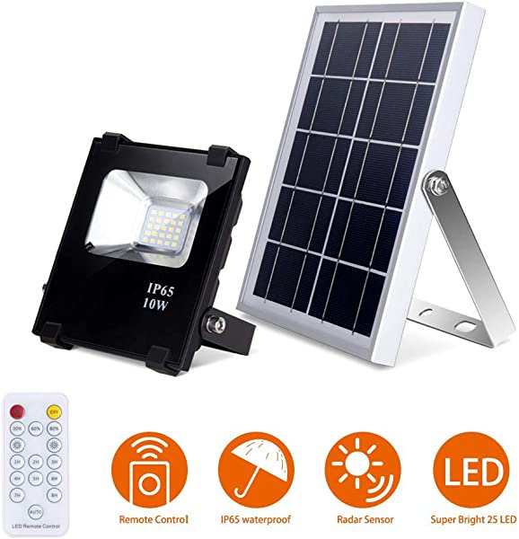 Solar Flood Lights With Remote Outdoor Led Solar Lights 10W 500LM 25 LEDs IP65 Waterproof Solar Security Lights Dusk To Dawn Floodlights For Shed Barn Garage Pool Garden