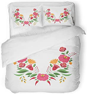 Adowyee Duvet Cover Set Twin Size Hungarian Folk Pattern Kalocsa Floral Ethnic Slavic Eastern European Decorative 3 Piece Bedding Set with 2 Pillow Shams for Bedroom