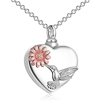 YFN 925 Sterling Silver Sunflower Hummingbird Cremation Urn Necklaces for Ashes Heart Memory Jewelry for Women Gift