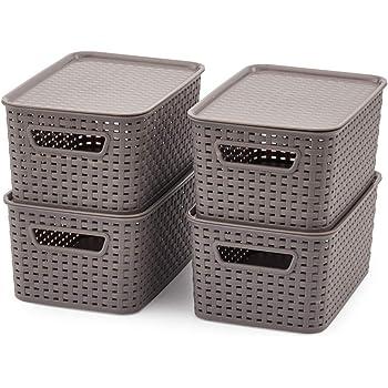 EZOWare 4 pcs Cestas de Almacenaje Multiuso con Tapas, Cajas Organizadoras de Plástico Apilable con Efecto de Mimbre y Asas para Cocina, Baño - Gris: Amazon.es: Hogar