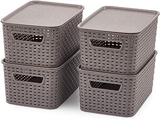 EZOWare Petit Panier de Rangement en Plastique PP Tissé avec Couvercle, Boîte de Rangement, Bac de Rangement pour Cuisine,...