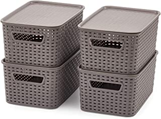 Best woven plastic basket with lid Reviews