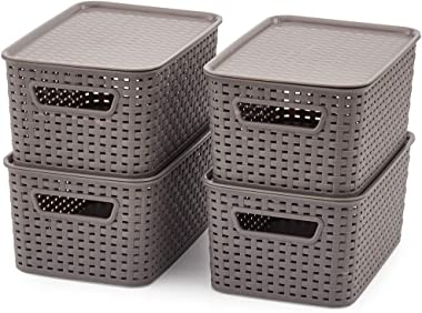 EZOWare Pack of 4 Small Plastic Baskets with Lid, Stackable Lidded Knit Storage Organizer Bins Perfect for Storing Small Hous