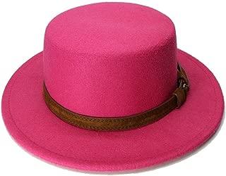 YOPENG、ビーバーハット 子供子供ファッション古典的なヴィンテージウールワイドつばキャップポークパイ豚肉山高帽帽子固体コーヒーレザーバンド(54cm /調整済み) (色 : ローズレッド, サイズ : 54cm)