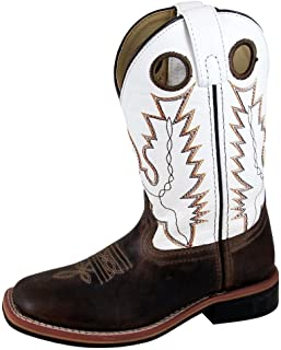Smoky Mountain Youth Jesse Leather Square Toe Brown Waxed/White Western Cowboy Boot 7R Brown Waxed/White