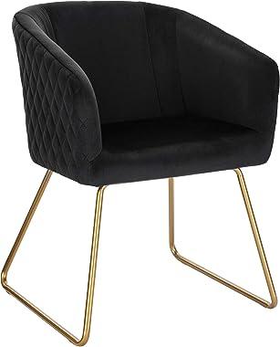 WOLTU 1 Chaise de Salle à Manger Chaise de Cuisine Chaise Salon en Velours,Fauteuil Chaise Pieds en métal doré,Noir BH271sz-1
