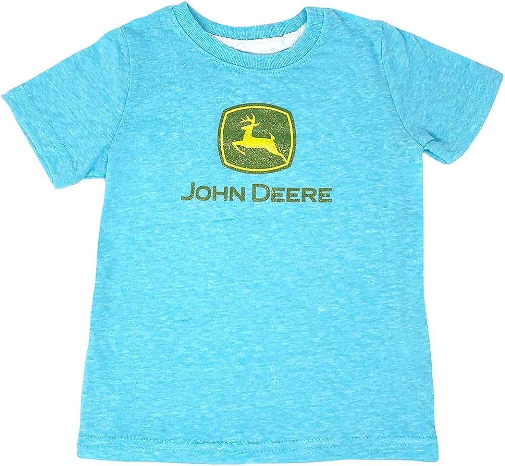 John Deere Toddler Turquoise Polyester/Cotton Glitter Logo Short Sleeve Tee
