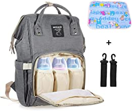 Mastery Baby Diaper Bag Backpack - Large Capacity Waterproof Travel Mommy Nappy Bags with Changing pad and Stroller Straps - Stylish and Durable Organizer for Women, Men, Toddler and Newborn (Gray)