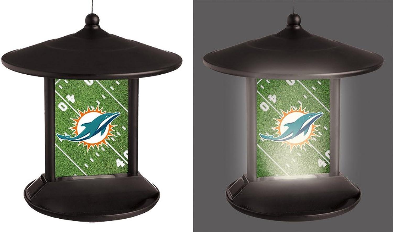 NFL Miami Dolphins 2SP3816BFSolar Power Light Up Birdfeeder, Miami Dolphins, Black