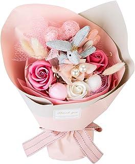 ソープフラワーローズ 枯れない花 石鹸石けん かわいい ウサギ人形 創意ギフト クリスマス 誕生日 記念日 結婚お祝い 母の日 花バラ束 プレゼント ナイトライト 付き