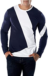 PASATO Clearance Men's Classic Casual Patchwork Slim Long Sleeve T Shirt Pollover Top Blouse Pure Color clothes