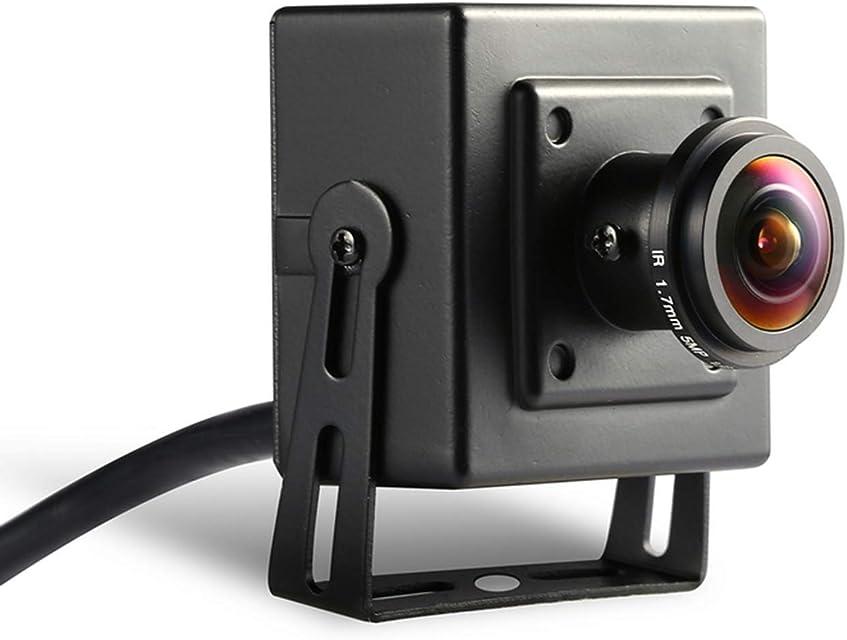PoE Fisheye 3MP Mini cámara IP- Revotech - H.265 1080P 1296P 2MP Panorámico Interior Metal Cámara Seguridad ONVIF P2P CCTV Cámara Sistema (I706-3-P Negro)