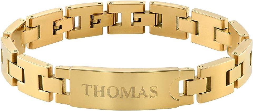 Personalisierbare Herren Edelstahl-Glieder-Armband mit Gravur in Edelstahl/Vergoldet - Männer Geschenk für den Vatertag