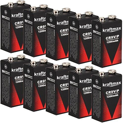 kraftmax 10x 9V Block Lithium Hochleistungs- Batterien für Rauchmelder/Feuermelder - 10 Jahre...