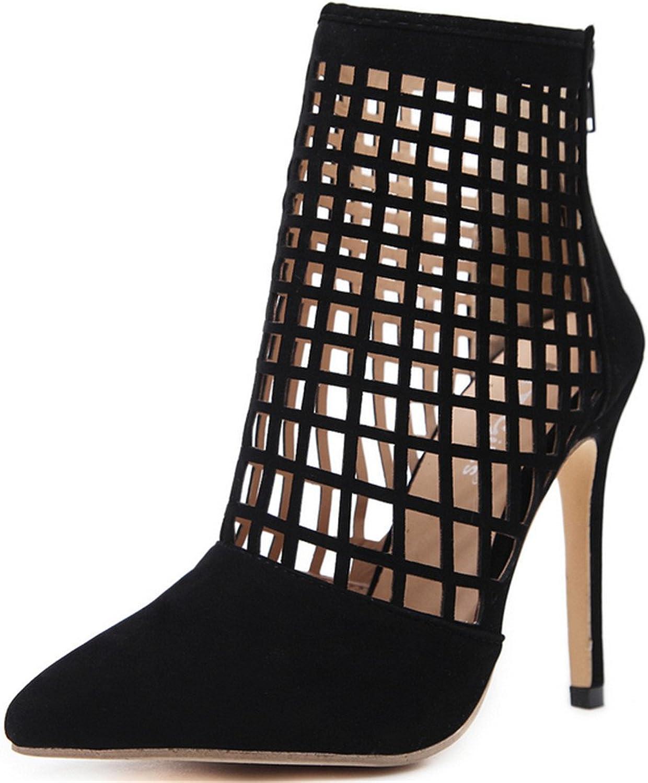 MODEOK Women's Sexy Hollow Sandals Tip Toe Stiletto Heels Back Zipper Heels