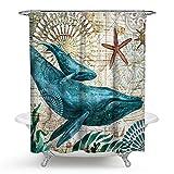 Duschvorhang Anti-Schimmel und Wasserdicht Polyester Retro Wal Badezimmer Duschvorhang mit Haken 180x180cm