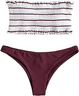 comprar comparacion JFAN Mujer Bikini Bandeau de Rayas Bralette Traje de Baño de Tubo Brasileños Bañador Ropa de Bano
