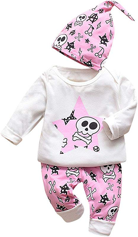 Jin Co Newborn Infant Baby Girls Boys Halloween Costumes Long Sleeve Cartoon Tops Pants Hat 3PCS Outfits Decoration