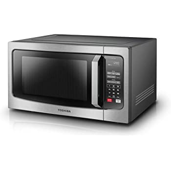 Toshiba ML-EM45P(BS) Countertop Microwave oven with Smart Sensor, Sound on/off Function and Position Memory Turntable, 1.6 Cu.ft, Black Stainless Steel