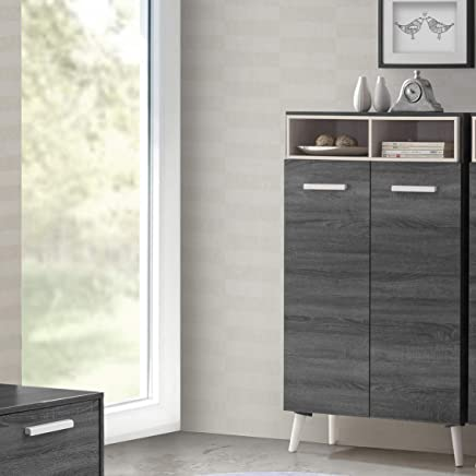 Maison Concept Urban Cabinet, Black and Grey - H 1344 x W 360 x D 800 mm