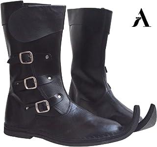 AnNafi Bottes médiévales en cuir à 3 boucles | mocassins inspirés de la Renaissance | Bottes de capitaine pirate Halloween...