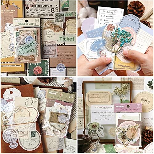 120 Piece Vintage Scrapbook Stickers, Antique Stickers Parchment Old Retro...
