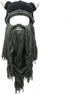 Adult Viking Beard Beanie Horn Hat Winter Warm Mask Hat Knitted Wool Funny Skull Cap