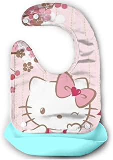Baby Bib- Stylish Red Hello Kitty Silicone Baby Bib Removable Unisex Bibs For Toddler Wipe