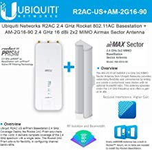 Rocket 2AC Prism R2AC US 2.4GHz with AM-2G16-90 2.4 GHz 16dBi 2x2 MIMO Sector Antenna